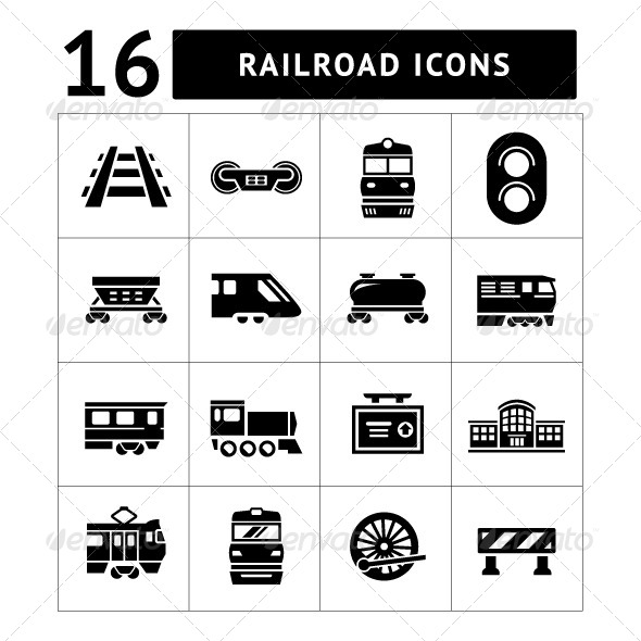 GraphicRiver Set Icons of Railroad and Train 7989357