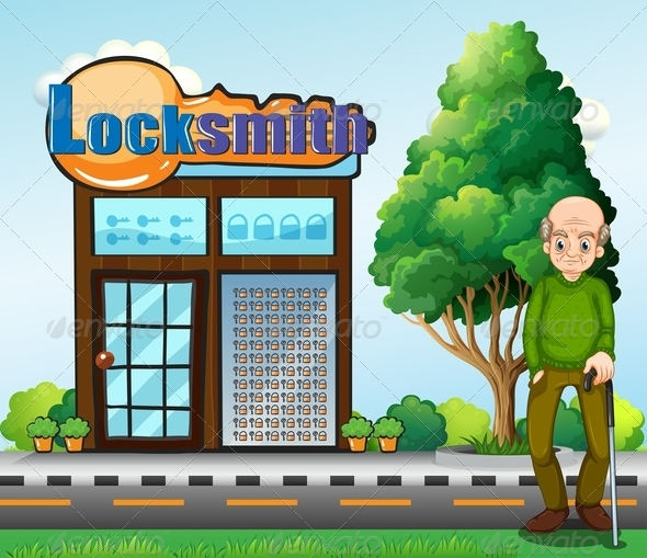 GraphicRiver An Old Man Standing in Front of the Locksmith 7989366