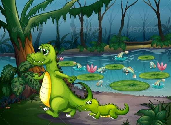 GraphicRiver Pond with Crocodiles and Fishes 7989369