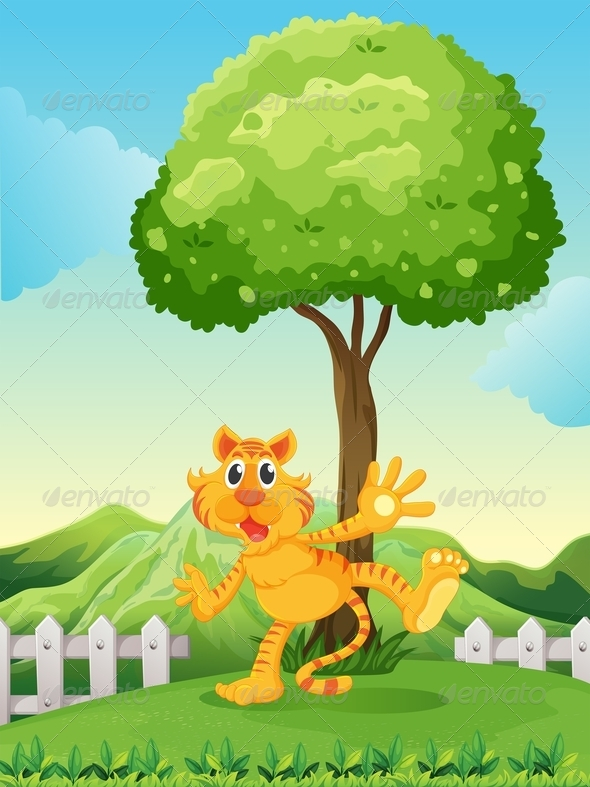 GraphicRiver A Playful Tiger Under the Tree at the Hilltop 7989372