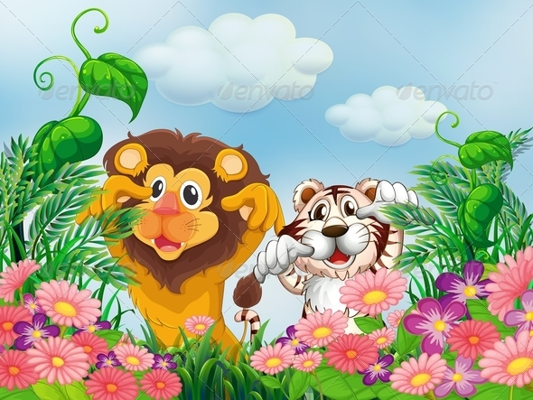 GraphicRiver A Garden with a Lion and a Tiger 7989382