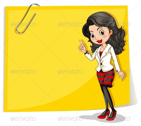 GraphicRiver A Yellow Empty Signage with a Businesswoman in Front 7989386