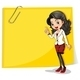 A Yellow Empty Signage with a Businesswoman in Front - GraphicRiver Item for Sale