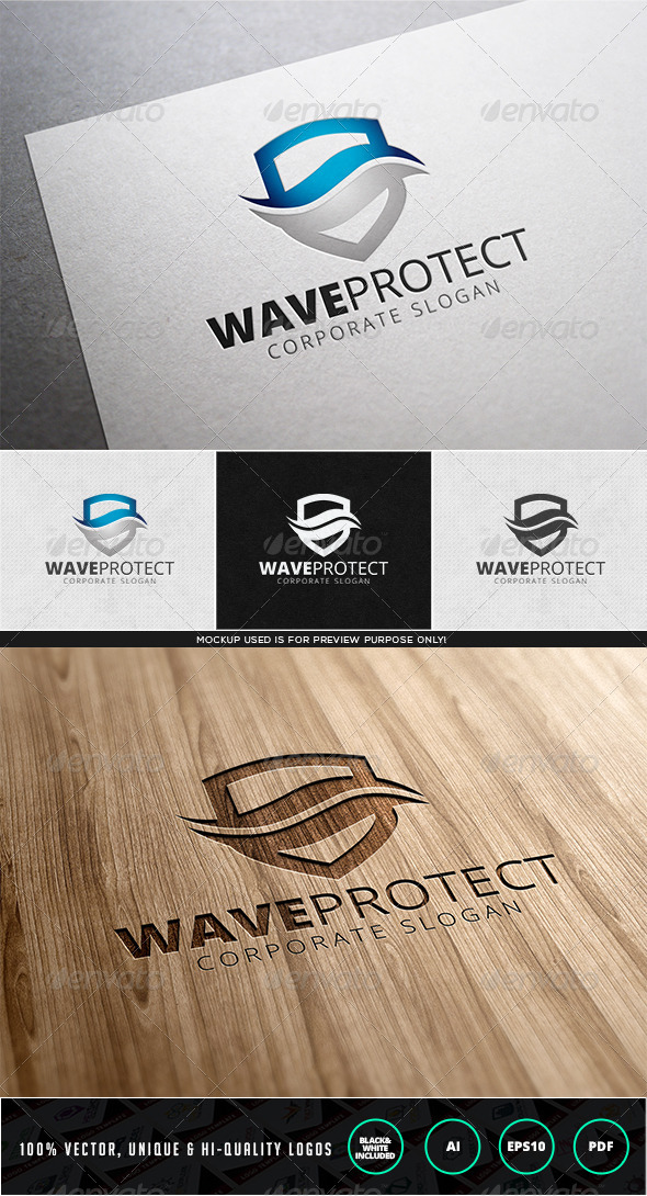 GraphicRiver Wave Protect Logo Template 7989523