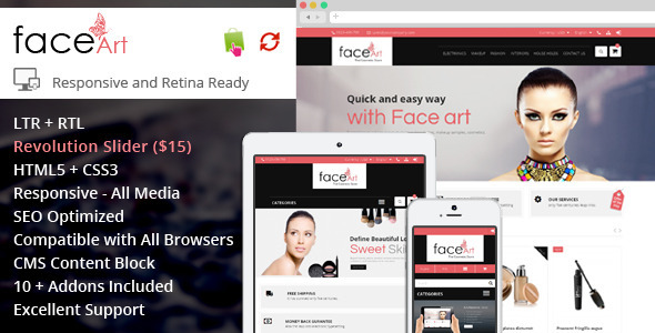 ThemeForest Face Art Prestashop Responsive Theme 7989528