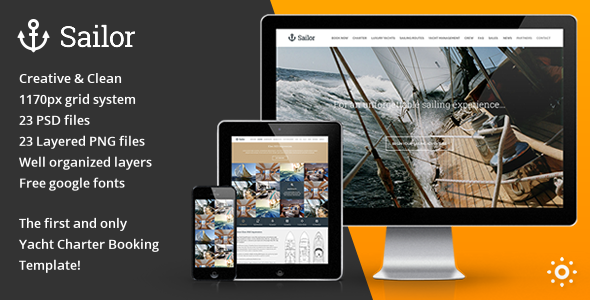 Sailor Yacht Charter Booking PSD Template