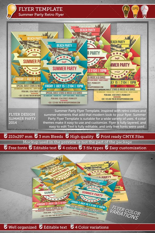 GraphicRiver Summer Party Retro Flyer 7990911