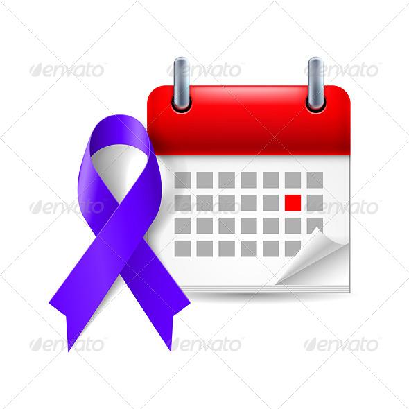 GraphicRiver Indigo Awareness Ribbon and Calendar 7990951