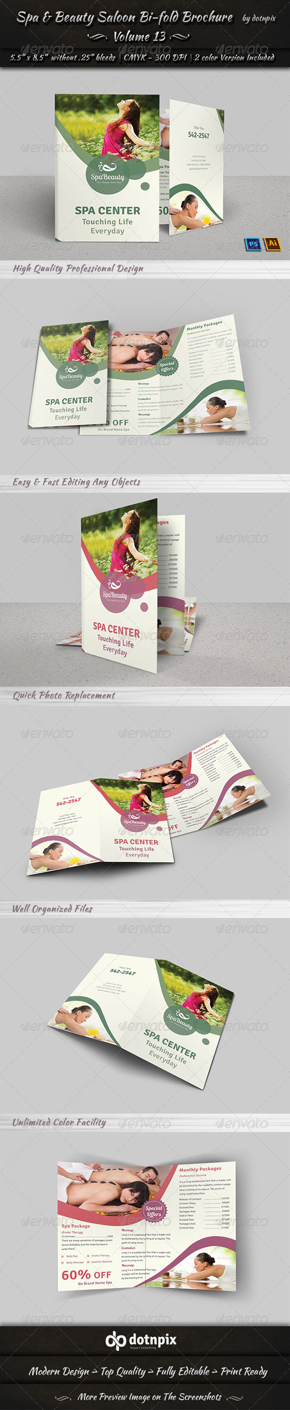 GraphicRiver Spa & Beauty Saloon Bi-fold Brochure Volume 13 7990956