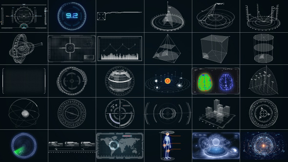 30 Super Hi-Tech HUD & Infographics Elements by Stefoto | VideoHive