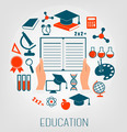 Flat design concept icons for education. E-learning concept.  - PhotoDune Item for Sale