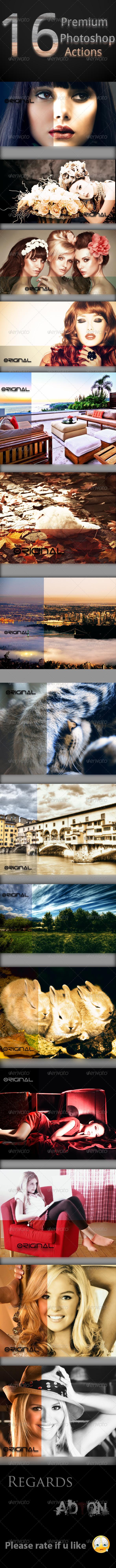 GraphicRiver 16 Premium Photoshop Actions 7991530