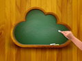 Chalkboard in a shape of a cloud. E-learning concept.  - PhotoDune Item for Sale