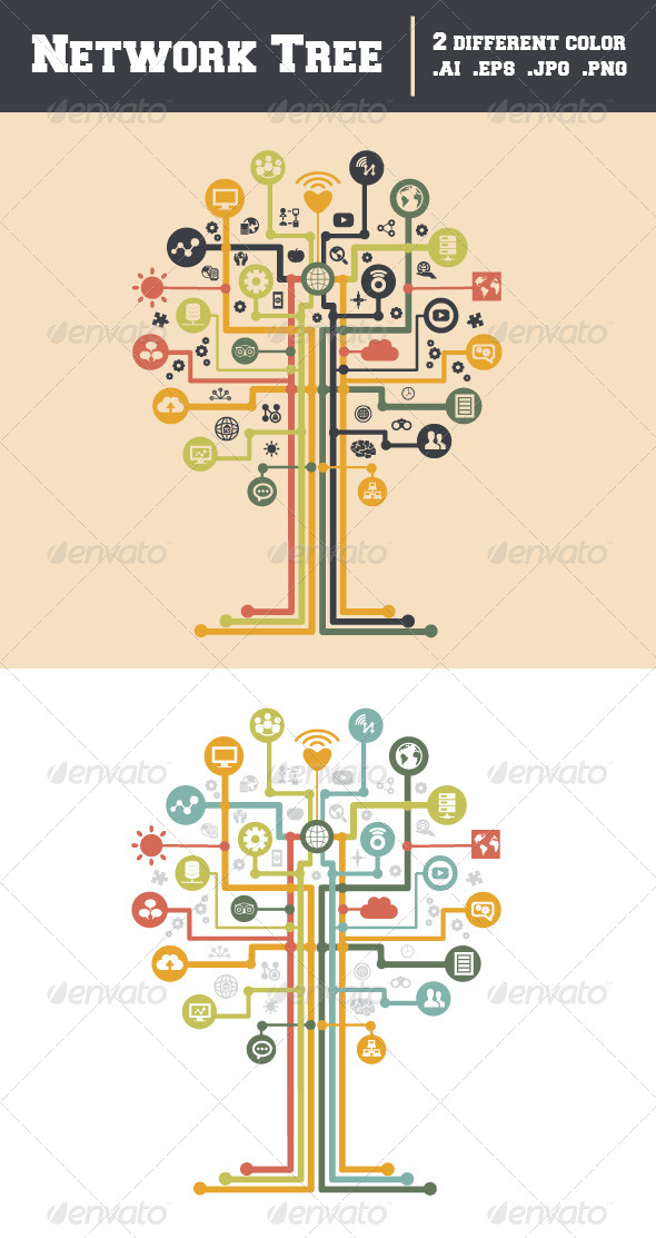 GraphicRiver Network Tree Icon 7991664