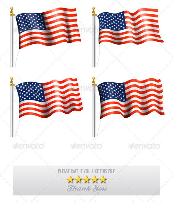 American Flag Waving on Flag Pole