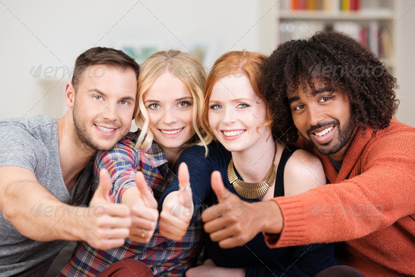 Motivated enthusiastic young business team - Stock Photo - Images