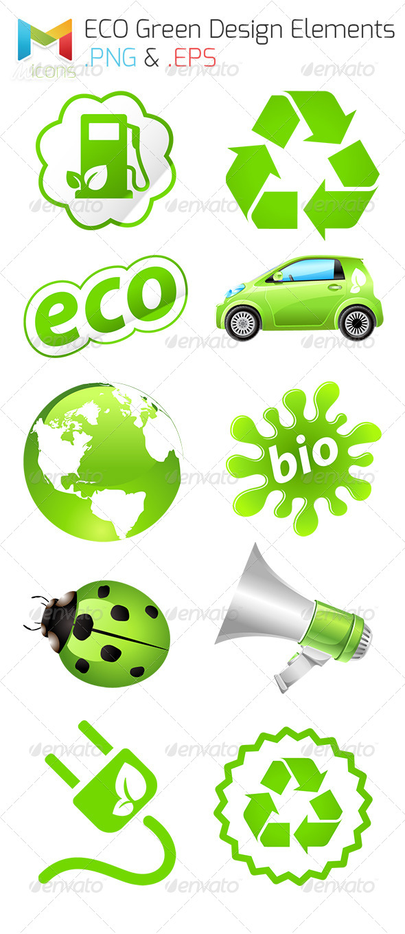 GraphicRiver ECO Green Vector Icon Set 7986071