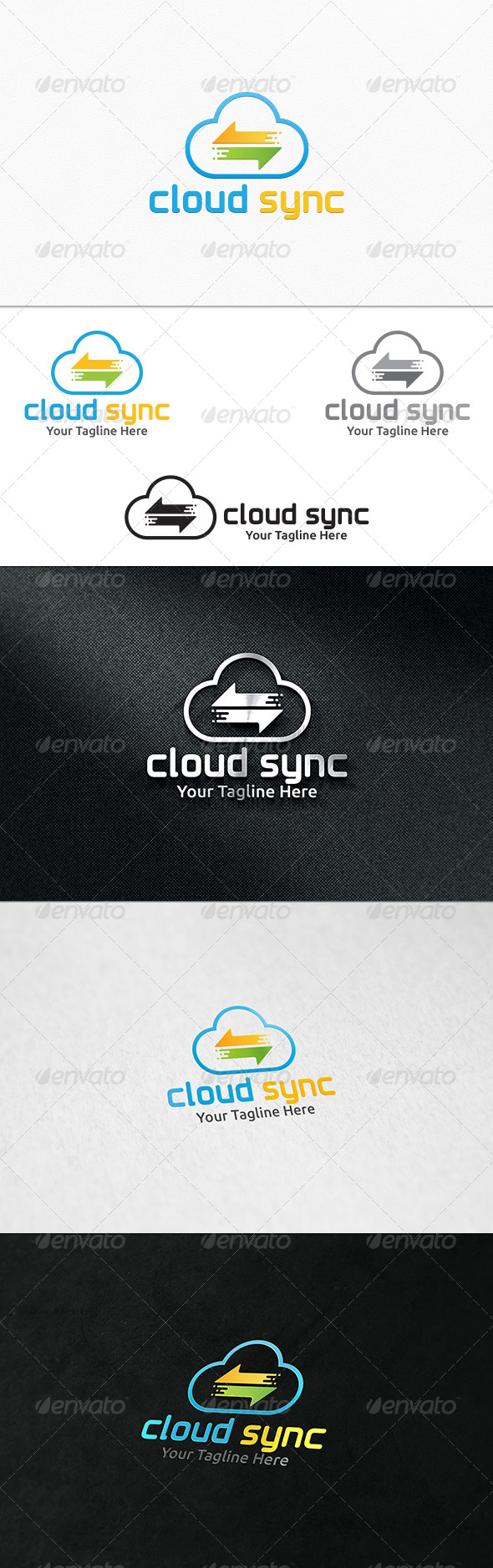 GraphicRiver Cloud Sync Logo Template 7992323