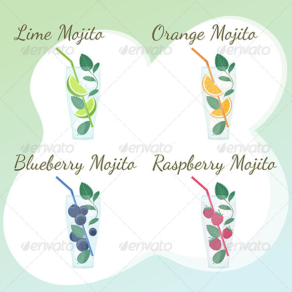 GraphicRiver Lime Orange Blueberry and Raspberry Mojito 7992700