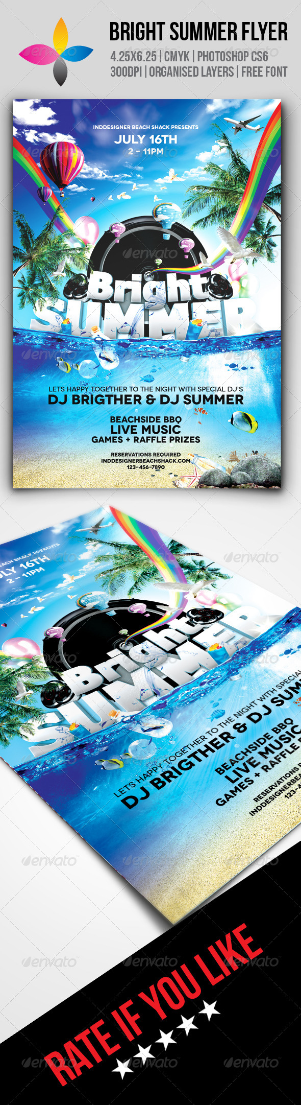 GraphicRiver Bright Summer Flyer 7966053