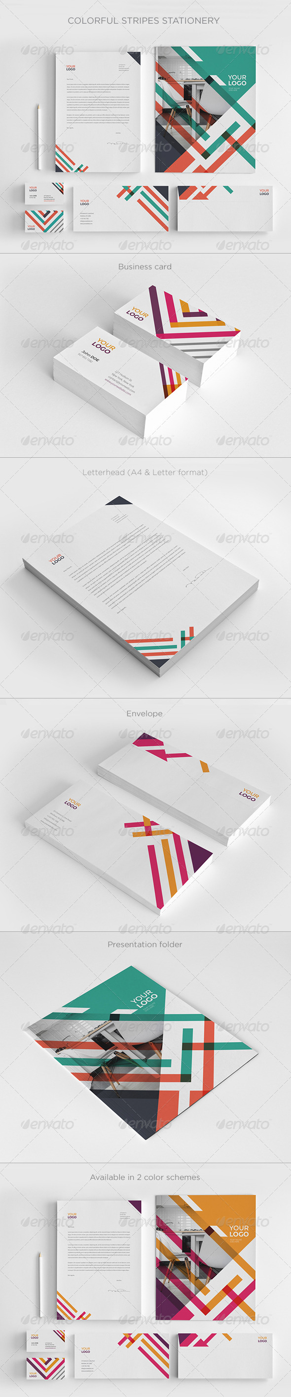 GraphicRiver Colorful Stripes Stationery 7993123