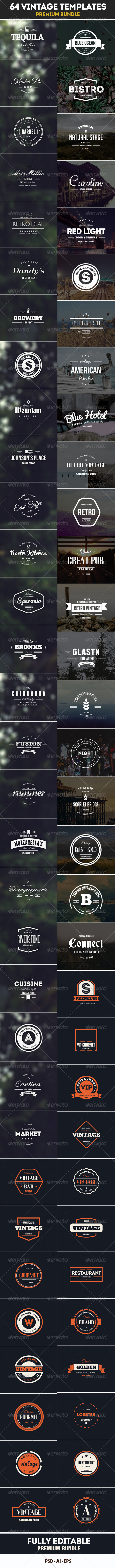 GraphicRiver 64 Vintage Labels & Badges Logos Bundle 7993973