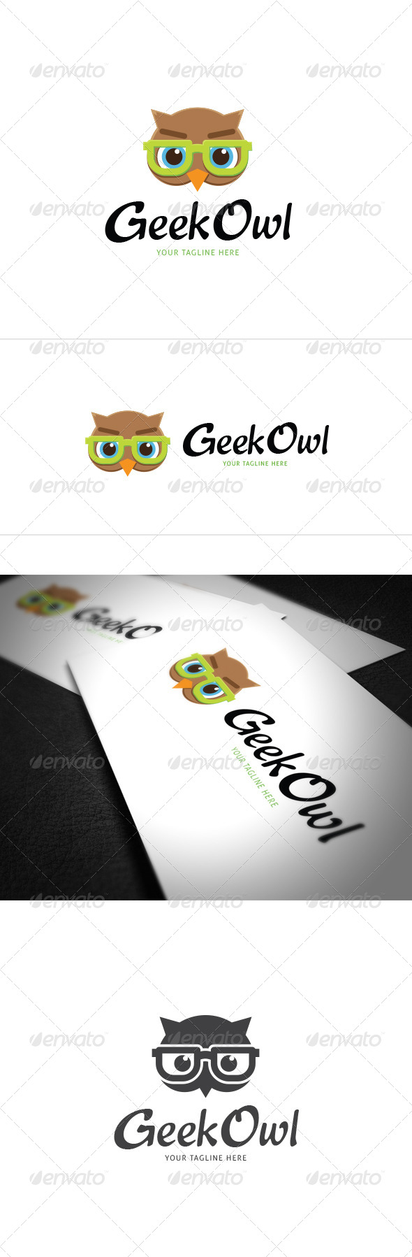 Geek Owl Logo Template - Animals Logo Templates