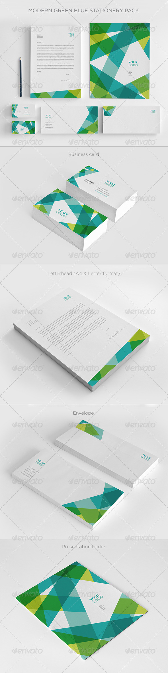 GraphicRiver Modern Green Blue Stationery 7994580