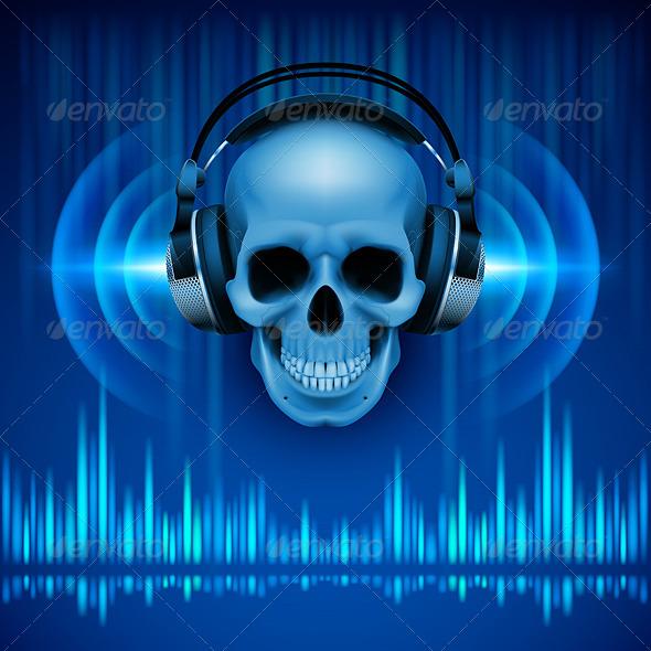 GraphicRiver Skull in headphones Disco background 7994661