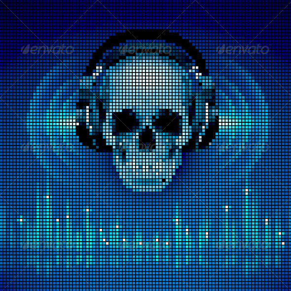 GraphicRiver Skull in headphones LED disco background 7994664