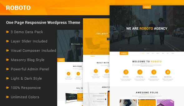 Roboto - One Page Responsive WordPress Theme