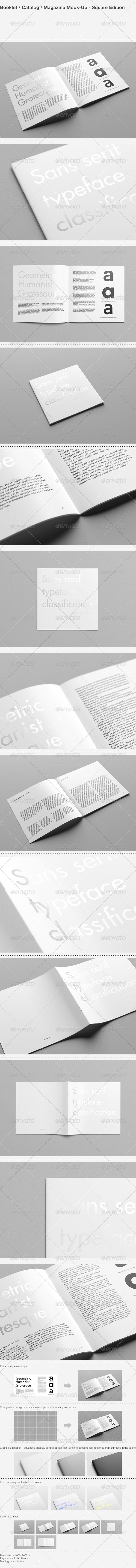 GraphicRiver Booklet Catalog Magazine Mock-Up Square 7973613