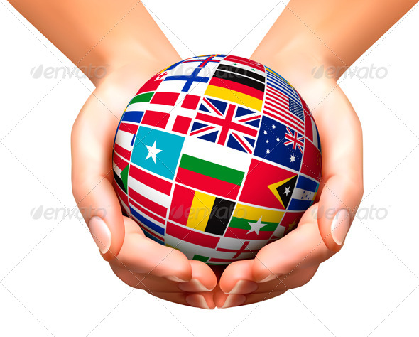 Flags of the World in Globe and Hands