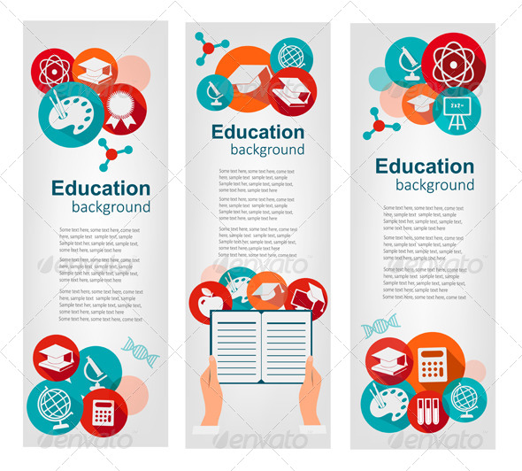 GraphicRiver Set of Education Banners with Icons 7995008