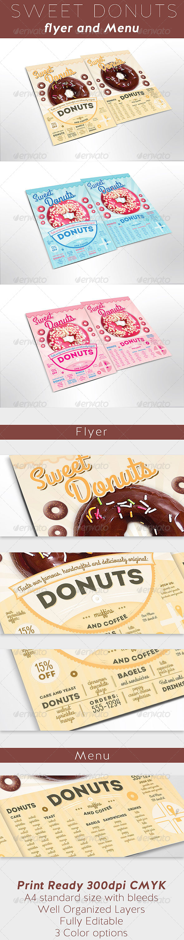 GraphicRiver Sweet Donuts Flyer and Menu Template 7995169