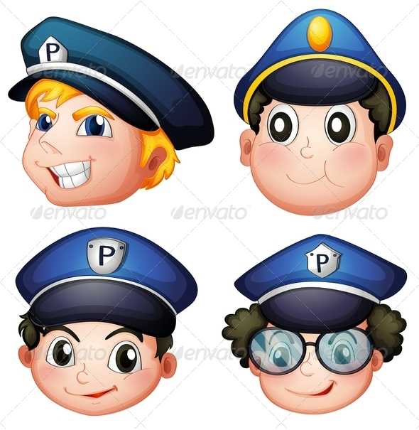 GraphicRiver Four Police Heads 7995250