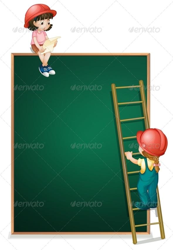 GraphicRiver Girls Working on Blank Chalkboard 7995260