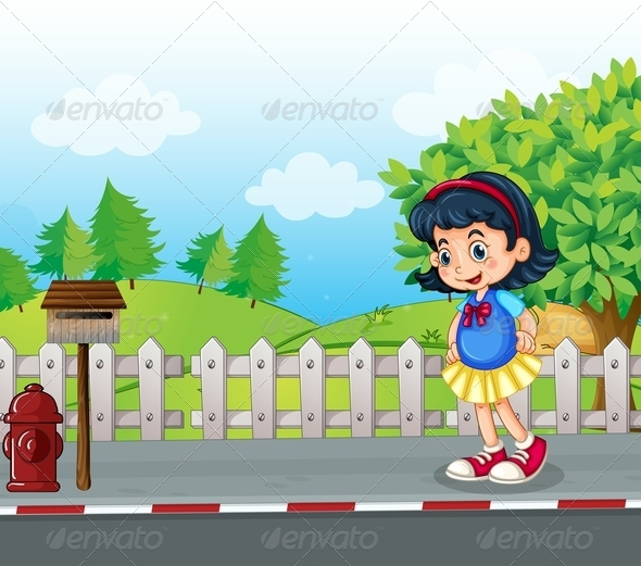 GraphicRiver Girl Near Mailbox 7995285