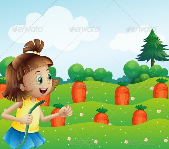 GraphicRiver Happy Girl Watering the Carrots on the Farm 7995302