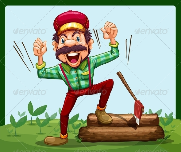 GraphicRiver Happy Lumberjack Stepping on a Log with an Axe 7995313