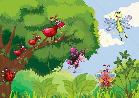 GraphicRiver Insects at the Forest 7995358