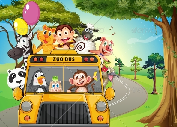 GraphicRiver Bus Full of Zoo Animals 7995362