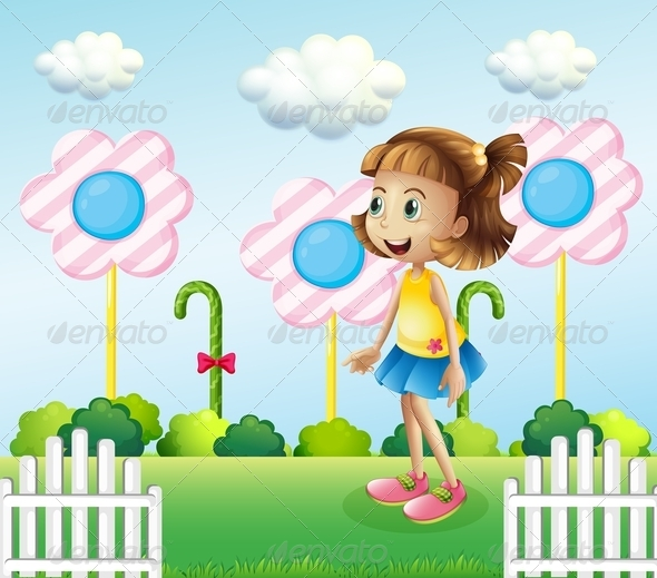 GraphicRiver Little Girl Near a Wooden Fence with Candies 7995365