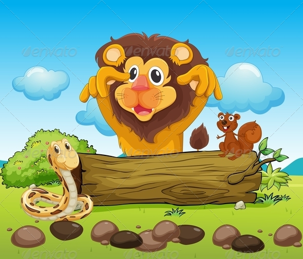 GraphicRiver A Scary Lion Snake and a Small Squirrel 7995367