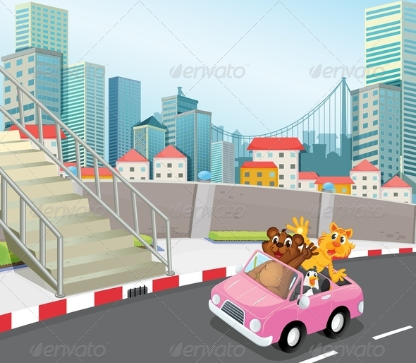 GraphicRiver A Pink Vehicle with Animals in a City 7995370