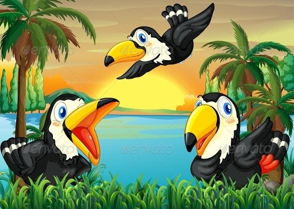 GraphicRiver Three Wild Birds Near the River 7995374