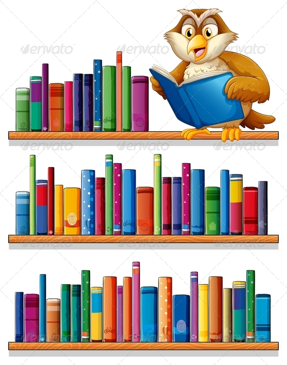 GraphicRiver Owl on a Wooden Bookshef with Books 7995384
