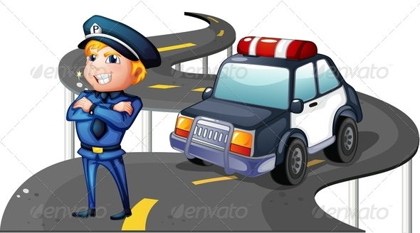 GraphicRiver Police and His Patrol Car on Road 7995388