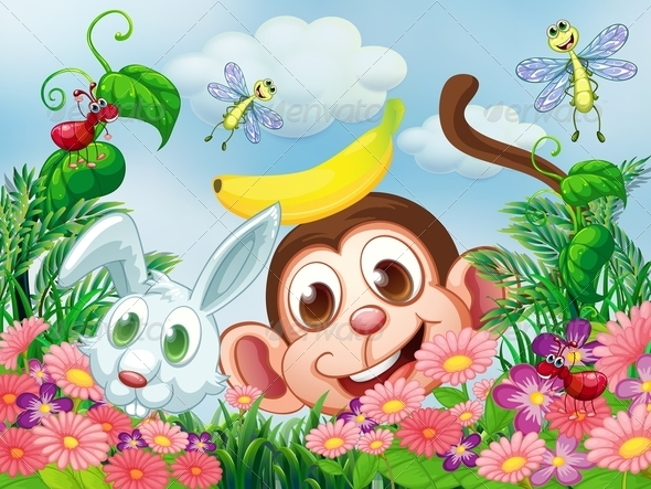GraphicRiver Monkey and a Rabbit in a Garden with Insects 7995392