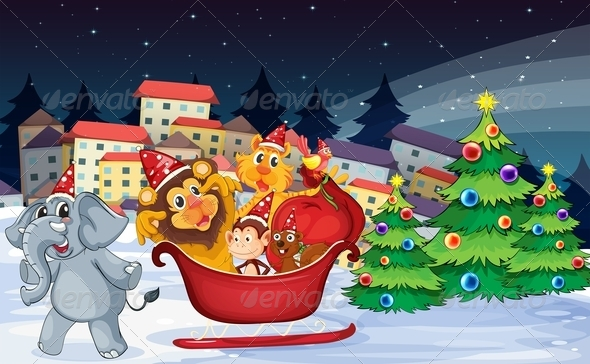 GraphicRiver Village with Playful Animals at Christmas Time 7995415